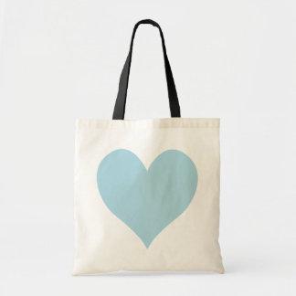 Cute Light Blue Heart Tote Bags