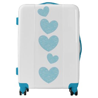 Light Blue Hearts Suitcase