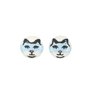 CUTE LIGHT BLUE & WHITE CAT EARRINGS