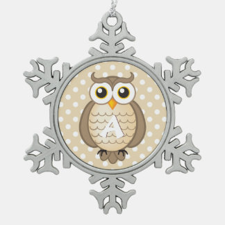 Cute Light Brown Owl with Monogram Snowflake Pewter Christmas Ornament