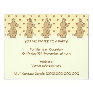 Cute Light Brown Rabbit. 4.25x5.5 Paper Invitation Card