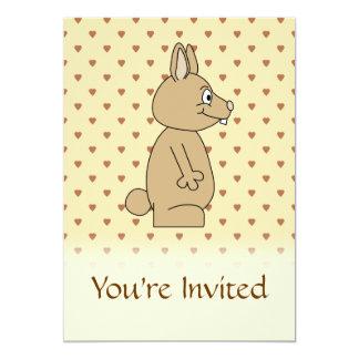 Cute Light Brown Rabbit. 5x7 Paper Invitation Card