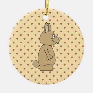 Cute Light Brown Rabbit. Christmas Tree Ornament
