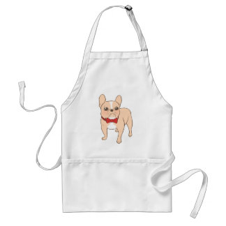 Cute Light fawn French Bulldog with a red bow tie Adult Apron
