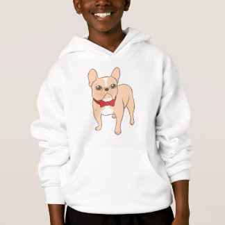 Cute Light fawn French Bulldog with a red bow tie Hoodie