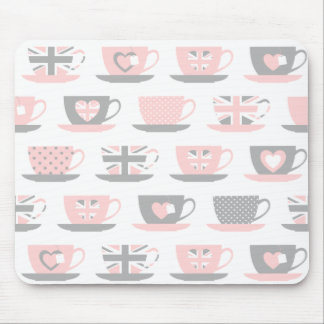 Cute Light Gray and Pink Tea Cups Mouse Pad