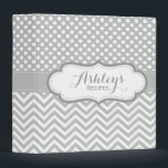 "Cute Light Gray Polka Dots Chevron Recipe Binder<br><div class=""desc"">A pretty and cute personalized recipe binder with a trendy light gray and white polka dots and chevron pattern. Elegant,  girly and modern recipe holder.</div>"