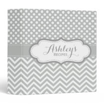 Cute Light Gray Polka Dots Chevron Recipe Binder