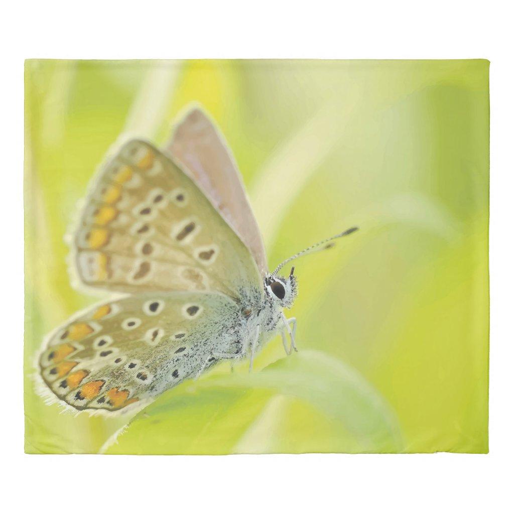 Light Green Butterfly Print King Duvet Cover