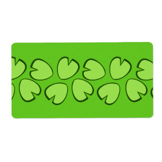 Cute Light Green Lily Pad Leaves Design Label