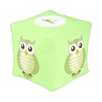Cute Light Green Owls with Monogram Pouf