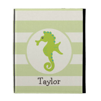 Cute Light Green Seahorse iPad Cases