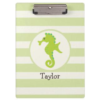Cute Light Green Seahorse Clipboard