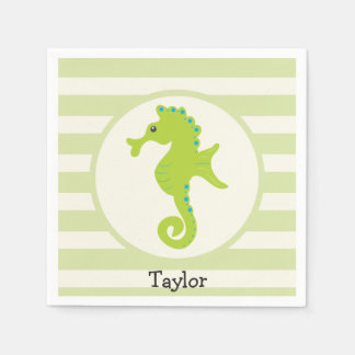 Cute Light Green Seahorse Disposable Napkins