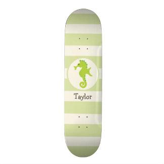 Cute Light Green Seahorse Custom Skate Board