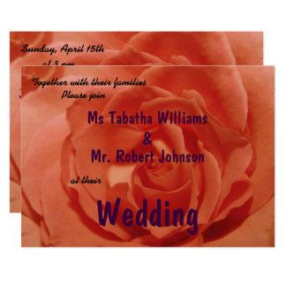 Cute Light Orange Rose Print Wedding Invitation