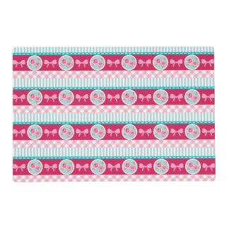 Cute Light Pink & Blue Girly Pattern Placemat