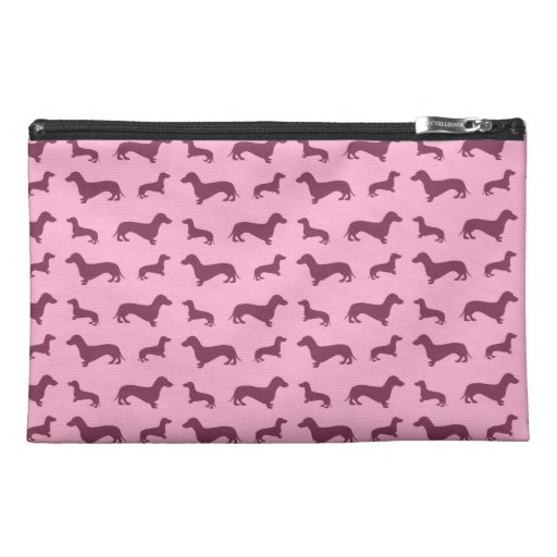 Cute light pink dachshund pattern travel accessories bags