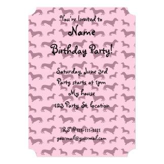 Cute light pink dachshund pattern 5x7 paper invitation card