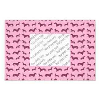 Cute light pink dachshund pattern photo print