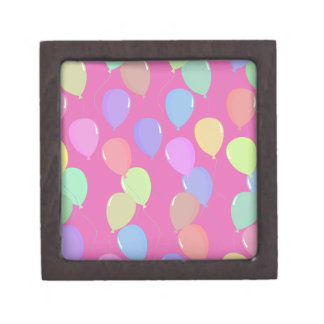 Cute Light Pink Floating Colorful Pastel Balloons Premium Gift Box