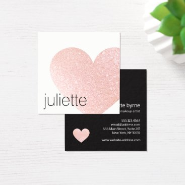 Valentines Themed Cute Light Pink Glitter Heart Beauty Salon Square Business Card