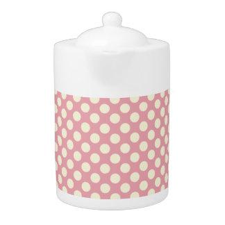 Cute Light Pink Polka Dots Teapot