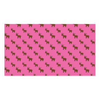 Cute light pink reindeer pattern business card