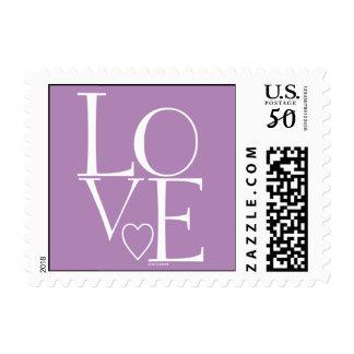 Cute Light Purple White Modern Love Postage