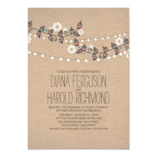 Cute Light Strings Floral Rustic Wedding Invite