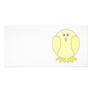 Cute Light Yellow Bird. Cartoon Chick. Card