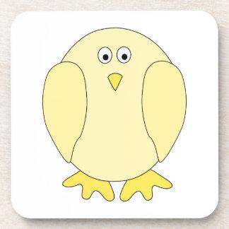 Cute Light Yellow Bird. Cartoon Chick. Coaster