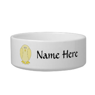 Cute Light Yellow Bird. Cartoon Chick. Cat Water Bowl