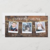 Cute Lighten Up Christmas Holiday 3 Photo Card