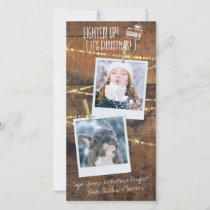 Cute Lighten Up! Holiday 3-Photo Template Card
