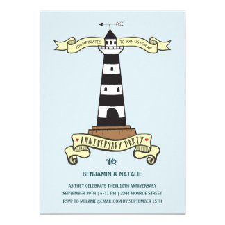 Cute Lighthouse | Nautical Anniversary Party Card