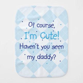 Cute Like Daddy Blue on Light Blue Argyle Baby Burp Cloths