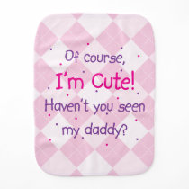 Cute Like Daddy on Light Pink Argyle Baby Burp Cloth