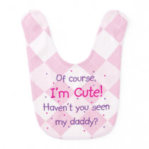 Cute Like Daddy on Light Pink Argyle Bib