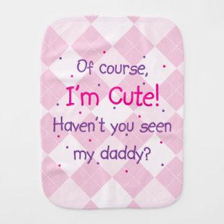 Cute Like Daddy on Light Pink Argyle Burp Cloths
