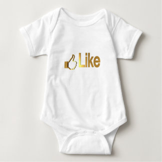"Cute ""Like"" in Gold Design by Leslie Harlow Baby Bodysuit"