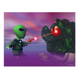 Cute lil Alien & Blob Postcard