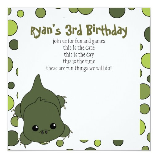 Cute Lil' Alligator 5.25x5.25 Square Paper Invitation Card