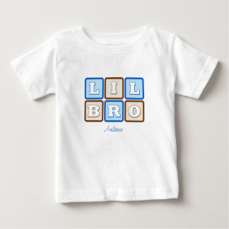 Cute Lil Bro Word Block with Name Baby T-Shirt