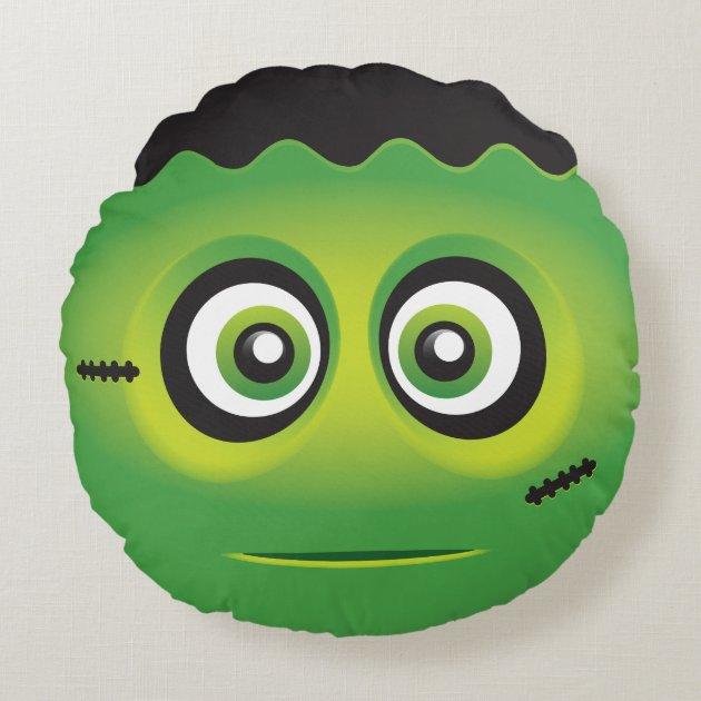 cute lil u0026 39  green monster emoji round pillow