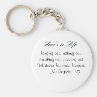 cute lil heart, Here's to Life, hanging out, ma... Key Chains