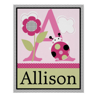 Cute Lil Little Ladybug Letter & Name Wall Poster