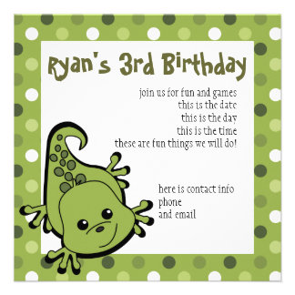 Cute Lil' Lizard Custom Invites