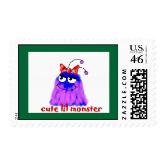 cute lil monster postage stamp