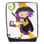 Cute Lil Witch With Purple Hair on A Broomstick Backpack